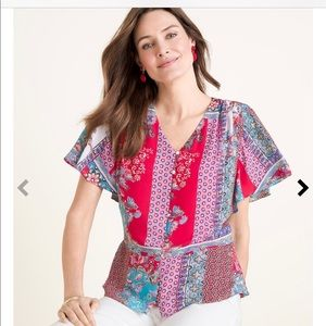 Chico's size 2 (10-12) patchwork top.